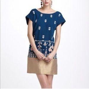 ANTHROPOLOGIE Aztec blue dress size 8